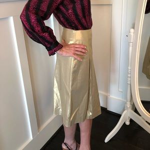 DKNY gold pleated skirt tailored to size 0